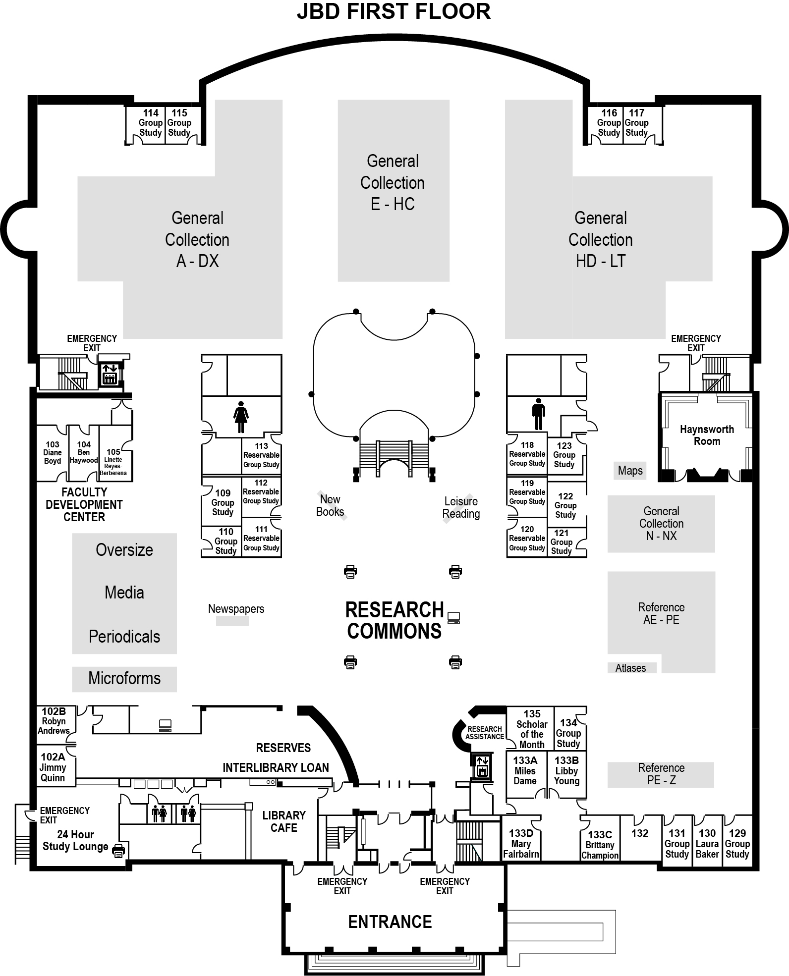 Duke Library First Floor Ground Plan