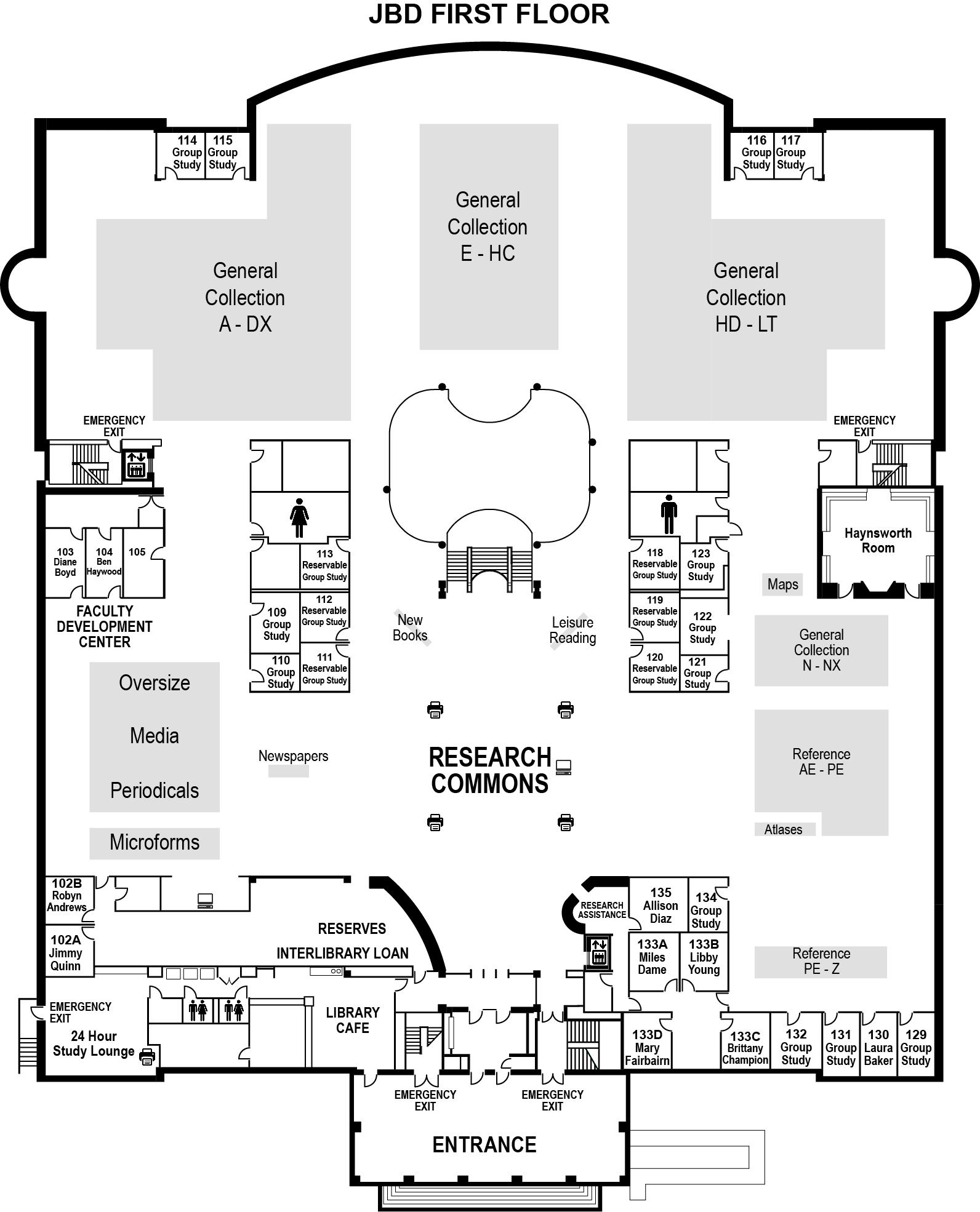 Duke Library First Floor Ground Plan